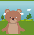 cute bear in the field landscape character vector image