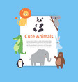 cute safari and jungle animals lion panda bear vector image vector image