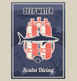 deep diving vintage typography poster template vector image vector image