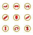 Different arrow icons set cartoon style