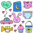 doodle of element set baby theme vector image vector image