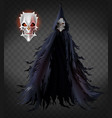 evil monster in black ragged cloak 3d vector image vector image