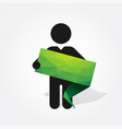 figure man holds green origami tag vector image