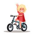 funny girl riding a bike vector image