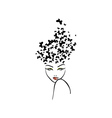Hairstyle with butterflies vector image vector image