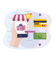 hand with smartphone ecommerce technology and vector image