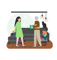 happy couple giving holiday surprise gifts to each vector image vector image