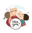 happy grandparents day scene family hug vector image