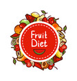 healthy food fruit diet emblem vector image