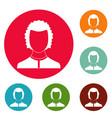 man avatar icons circle set vector image vector image