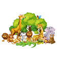 many cute animals in park vector image