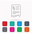 Medical prescription icon Health document sign vector image vector image