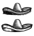 mexican sombrero in tattoo style isolated on vector image vector image