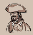 pirate with hat portrait digital sketch hand vector image