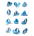 sailboat yacht and sailing ship with wave icon vector image vector image