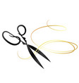 scissors and golden curl hair vector image vector image