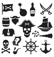 set objects and elements on pirate theme vector image