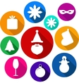 Set of bright flat xmas icons vector image