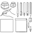 set of stationery vector image