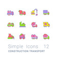 set simple line icons construction transport vector image vector image