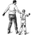 sketch a father with his daughter riding the vector image vector image