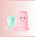 spermatozoon attack the female vaginal condom vector image vector image
