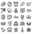 summer vacation related icon set 6 line style vector image vector image