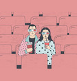 trendy young couple in cinema fashionable guy and vector image vector image