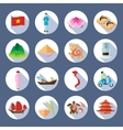 Vietnamese Symbols Flat Round Icons Set vector image vector image
