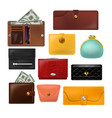 wallet leather purse and business billfold vector image vector image