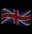 waving uk flag collage of lobster items vector image
