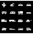 white vehicles icon set vector image vector image