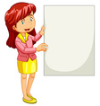 Woman holding empty poster vector image vector image