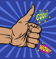 wow and cool pop art banner with hand thist vector image