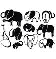 Elephant set silhouette vector image