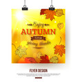 Autumn flyer with shining foliage Autumn sale vector image