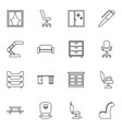 16 interior icons vector image vector image