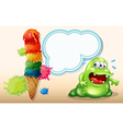 A sweaty fat monster near the giant icecream vector image vector image