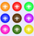 aircraft icon sign A set of nine different colored vector image vector image