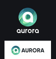 aurora logo with letter a on black and white vector image vector image
