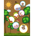 border template with wild animals on cardboard vector image vector image