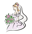 Bride with flowers vector image vector image