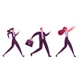 business people characters running row vector image vector image
