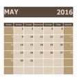 Calendar May 2016 week starts from Sunday vector image