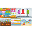cartoon set of grocery store and pub backgrounds vector image