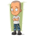Cartoon skinhead in jeans with suspenders vector image vector image