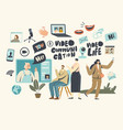 characters chat online concept video vector image