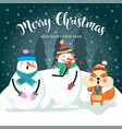 christmas card with cute squirrel snowman and vector image vector image