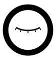 closed eye icon black color in circle vector image