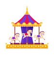 colorful carousel with horses on white background vector image vector image
